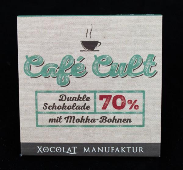 70% - Dunkle Schokolade mit Mokka - Bohnen