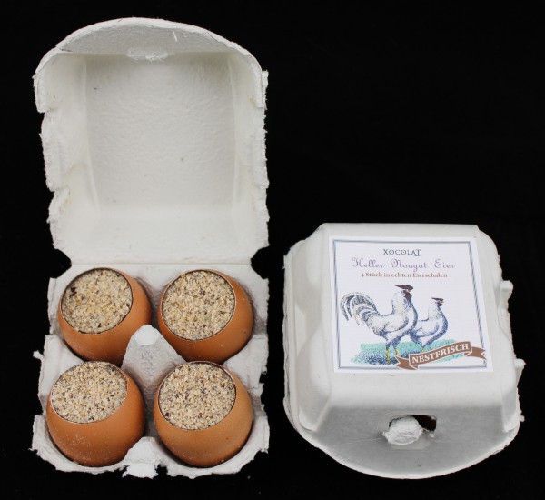 Heller Nougat Eier - in echten Eierschalen